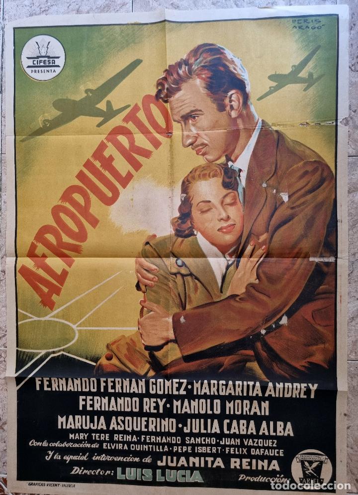 CARTEL CINE AEROPUERTO LITOGRAFIA PERIS ARAGO CIFESA ANTIGUO ORIGINAL (Cine - Posters y Carteles - Clasico Español)