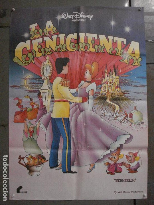 CDO L863 LA CENICIENTA WALT DISNEY POSTER ORIGINAL 70X100 ESPAÑOL R-80'S (Cine - Posters y Carteles - Infantil)