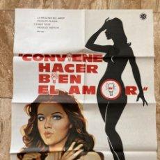 Cine: CARTEL CINE ORIG ESTRENO CONVIENE HACER BIEN EL AMOR (1975) 70X100 / AGOSTINA BELLI / JANO. Lote 277178853