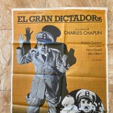 Cine: CARTEL CINE ORIG REESTRENO EL GRAN DICTADOR (1940) 70X100 / CHARLES CHAPLIN. Lote 277268593