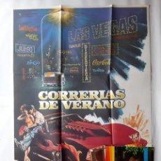 Cine: ANTIGUO CARTEL CINE CORRERIAS DE VERANO MARK HAMILL STAR WARS + 12 FOTOCROMOS MAC RV CC367. Lote 277418273