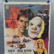 Cine: EL TESORO DE MOCTEZUMA. SANTO ENMASCARADO PLATA. JORGE RIVERO. AÑO 1968. POSTER ORIGINAL. Lote 277610433