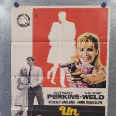 Cine: UN MARAVILLOSO VENENO. ANTHONY PERKINS, TUESDAY WELD. AÑO 1969. POSTER ORIGINAL. Lote 277612093