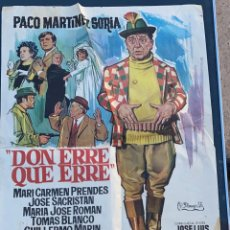 Cine: POSTER DE CINE DON ERRE QUE ERRE FILMAYER, S.A. PACO MARTINEZ SORIA 1970. Lote 277619938