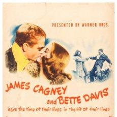Cine: POSTER 'THE BRIDE CAME C.O.D' JAMES CAGNEY AND BETTE DAVIS - TAMAÑO (32X45 CM) ESTUCADO 135GRS. Lote 277638743