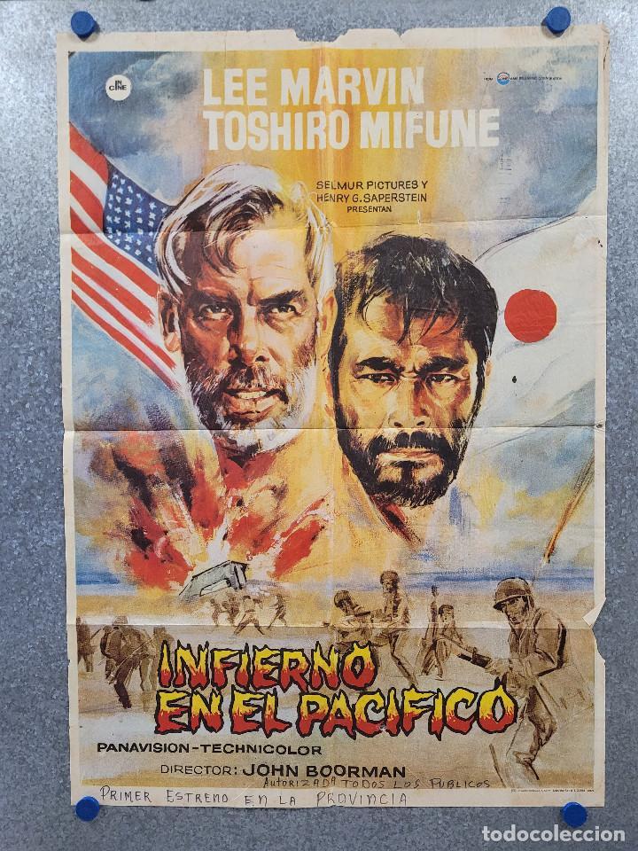 INFIERNO EN EL PACÍFICO. LEE MARVIN, TOSHIRÔ MIFUNE. AÑO 1979. POSTER ORIGINAL (Cine - Posters y Carteles - Bélicas)