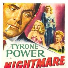 Cine: POSTER USA 'NIGHTMARE ALLEY' 1947 TYRONE POWER, JOAN BLONDELL, COLEEN GRAY, HELEN WALKER. Lote 277645128