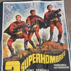 Cine: CARTEL DE CINE 3 SUPERHOMBRES CIRE FILMS CON TONY KENDALL EASTMANCOLOR 1968. Lote 277652903