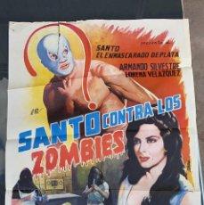 Cine: CARTEL DE CINE SANTO CONTRA LOS ZOMBIES 1964 CON ARMANDO SILVESTRE. Lote 277653908