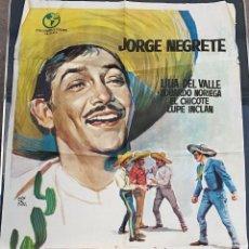 Cine: CARTEL DE CINE ALLA EN EL RANCHO GRANDE COLUMBIA FILMS CON JORGE NEGRETE 1963. Lote 277653938
