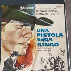Cine: CARTEL DE CINE UNA PISTOLA PARA UN RINGO FILMAX CON GIULIANO GEMMA Y FERNANDO SANCHO1965. Lote 277654538