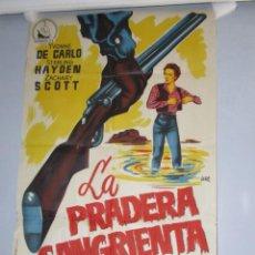Cine: CARTEL 99X70CM - LA PRADERA SANGRIENTA - YVONNE DE CARLO , ILUSTRA JANO, ORIGINAL EPOCA + INFO. Lote 277852493