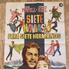 Cine: CARTEL CINE ORIG REESTRENO SIETE NOVIAS PARA SIETE HERMANOS (1954) 70X100 / STANLEY DONEN. Lote 278507663