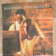 Cine: CARTEL CINE ORIG ESTRENO EL INFORME PELICANO (1993) 70X100 / JULIA ROBERTS / DENZEL WASHINGTON. Lote 278509363