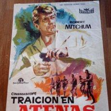 Cine: TRAICIÓN EN ATENAS, ANTIGUO PÓSTER ORIGINAL 1962 CON ROBERT MITCHUN. Lote 278811953