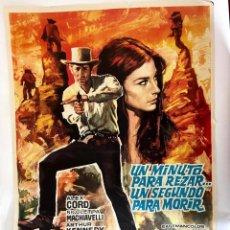 Cine: CARTEL DE CINE 70X100 - UN MINUTO PARA REZAR, UN SEGUNDO PARA MORIR. ALEX CORD, ARTHUR KENNEDY. Lote 278874553