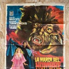 Cinema: CARTEL CINE ORIG ESTRENO LA MARCA DEL HOMBRE LOBO (1968) 70X100 / PAUL NASCHY / JANO. Lote 278950973