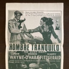 Cine: CARTEL CINE ORIG REESTRENO EL HOMBRE TRANQUILO (1952) 35X52 / J. WAYNE / MAUREEN O'HARA / JOHN FORD. Lote 278953458