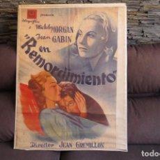 """Cine: """"REMORDIMIENTO"""" POSTER CARTEL (GRAFICAS VALENCIA) PELICULA 1941 - OCUPACION NAZI. Lote 281976308"""