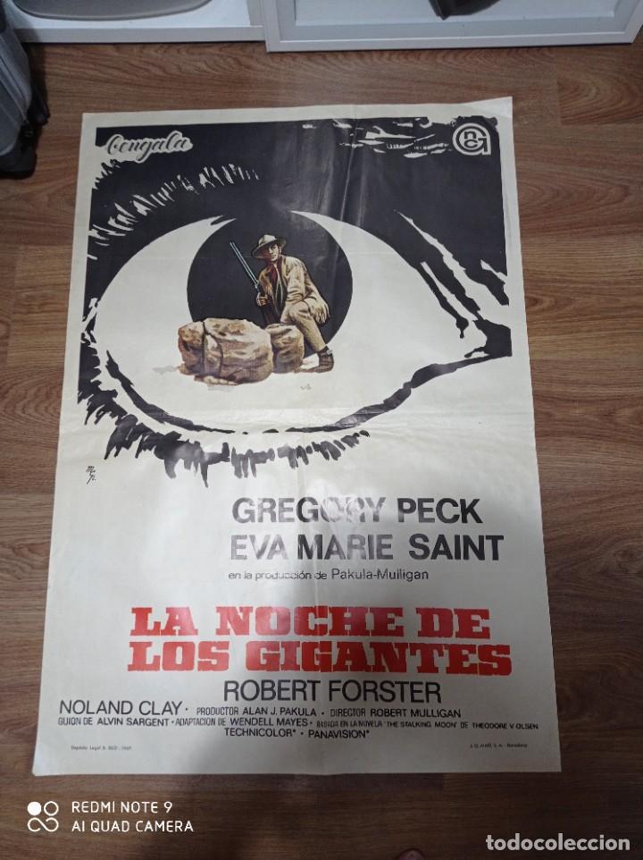 ANTIGUO CARTEL DE CINE ORIGINAL AÑOS 60 LA NOCHE DE LOS GIGANTES (Cine - Posters y Carteles - Westerns)