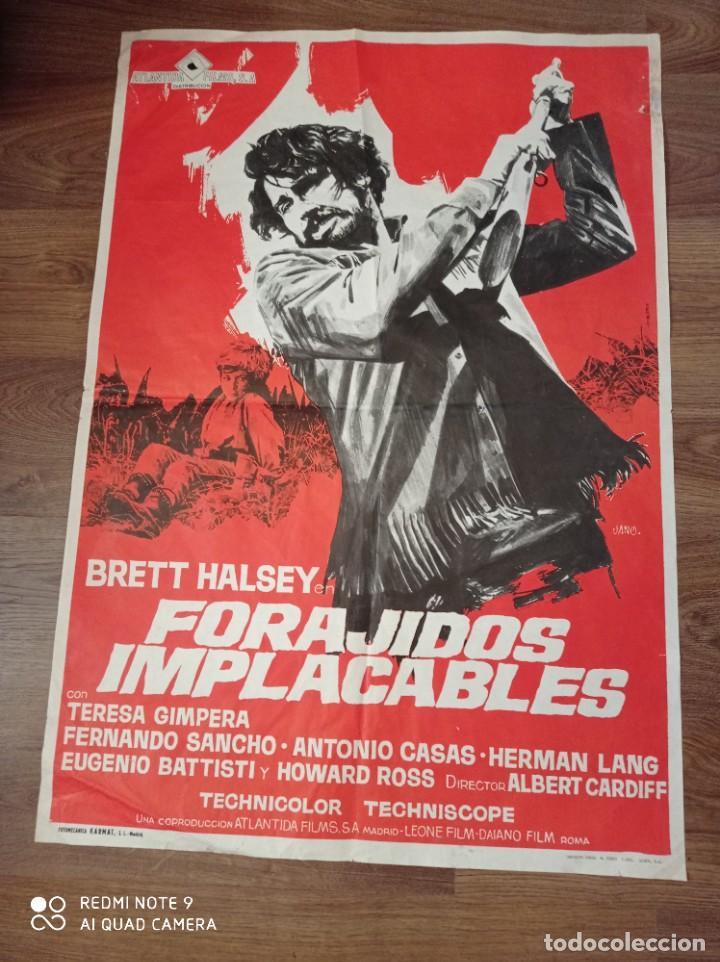 ANTIGUO CARTEL DE CINE ORIGINAL AÑOS 60 FORAJIDOS IMPLACABLES (Cine - Posters y Carteles - Westerns)