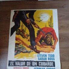Cine: ANTIGUO CARTEL DE CINE ORIGINAL AÑOS 60 EL VALOR DE UN COBARDE. Lote 283089363