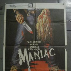 Cine: ABH38 MANIAC JOE SPINELL CAROLINE MUNRO WILLIAM LUSTIG SERIAL KILLER POSTER ORIGINAL 70X100 ESTRENO. Lote 285296378
