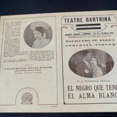 Cine: CARTEL CINE MUDO EL NEGRO QUE TENIA EL ALMA BLANCA 1928 CONCHA PIQUER. Lote 285631368