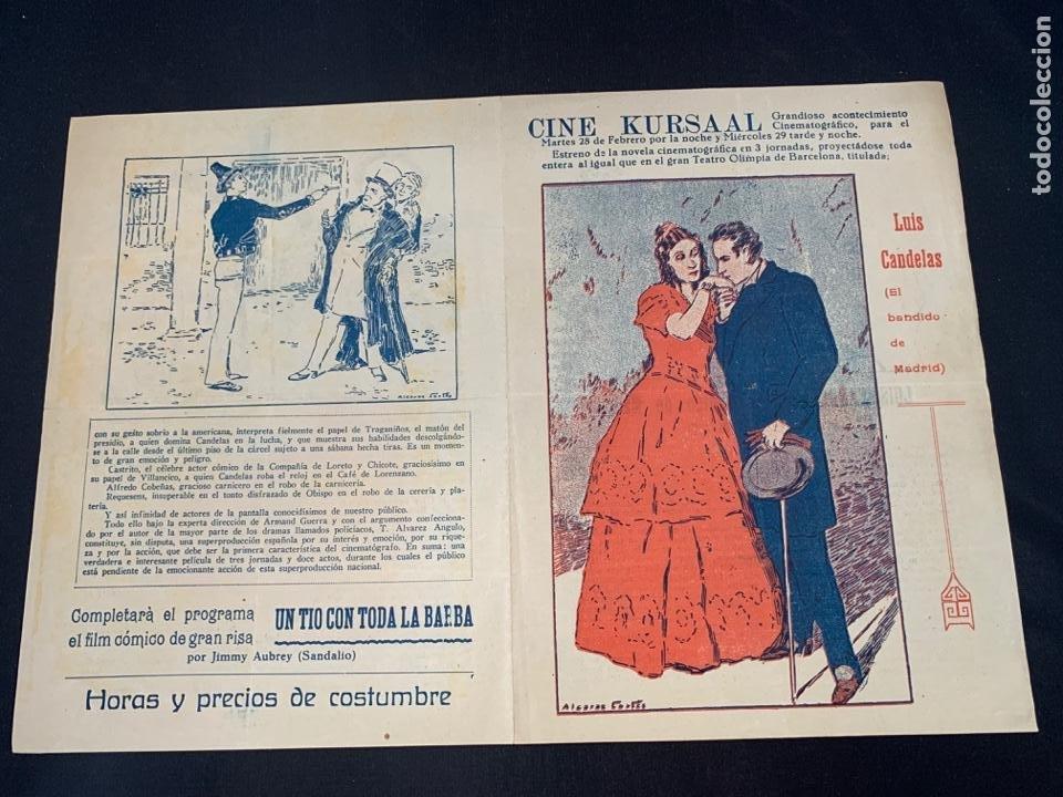 CARTEL CINE MUDO LUIS CANDELAS EL BANDIDO DE MADRID KURSAAL 1928 (Cine - Posters y Carteles - Clasico Español)