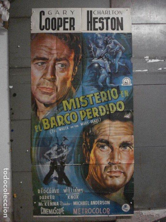 CDOX M107 MISTERIO EN EL BARCO PERDIDO GARY COOPER CHARLTON HESTON POSTER ORG 3 HOJAS 100X200 ESTREN (Cine - Posters y Carteles - Aventura)