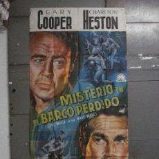 Cine: CDOX M107 MISTERIO EN EL BARCO PERDIDO GARY COOPER CHARLTON HESTON POSTER ORG 3 HOJAS 100X200 ESTREN. Lote 286154743