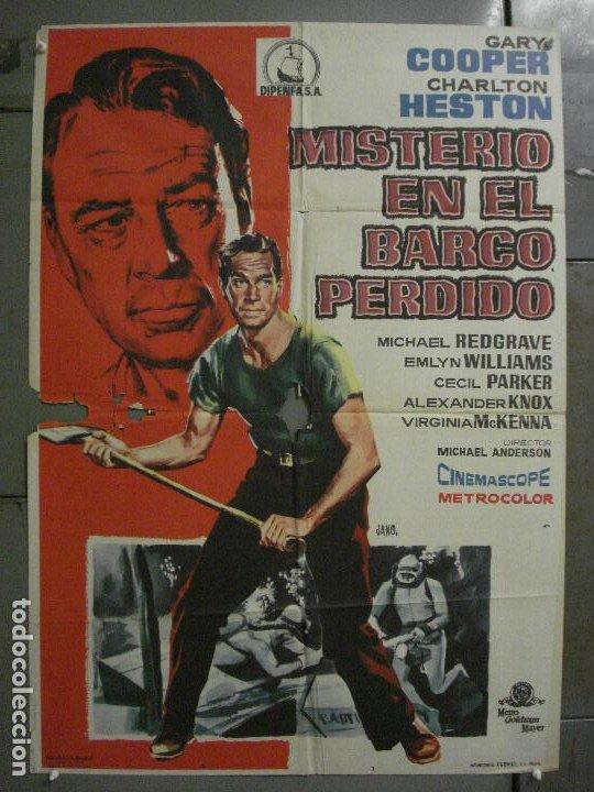 CDO M121 MISTERIO EN EL BARCO PERDIDO GARY COOPER CHARLTON HESTON POSTER ORIGINAL 70X100 ESTRENO (Cine - Posters y Carteles - Aventura)