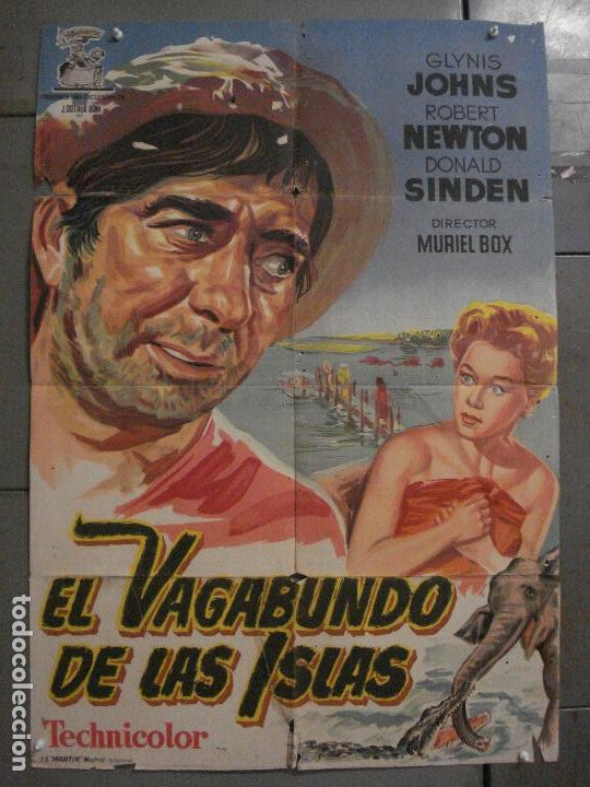 CDO M148 EL VAGABUNDO DE LAS ISLAS ROBERT NEWTON GLYNIS JOHNS POSTER ORIG 70X100 ESTREN LITOGRAFIA (Cine - Posters y Carteles - Aventura)