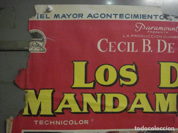 Cine: CDO M152 LOS DIEZ MANDAMIENTOS CHARLTON HESTON DEMILLE YUL BRYNNER POSTER ORIGINAL 70X100 ESTRENO - Foto 2 - 286313058