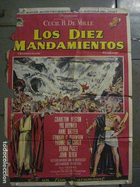 CDO M152 LOS DIEZ MANDAMIENTOS CHARLTON HESTON DEMILLE YUL BRYNNER POSTER ORIGINAL 70X100 ESTRENO (Cine - Posters y Carteles - Aventura)