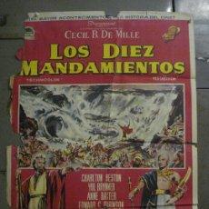 Cine: CDO M152 LOS DIEZ MANDAMIENTOS CHARLTON HESTON DEMILLE YUL BRYNNER POSTER ORIGINAL 70X100 ESTRENO. Lote 286313058
