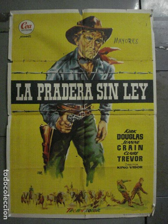 CDO M154 LA PRADERA SIN LEY KIRK DOUGLAS KING VIDOR JANO POSTER ORIGINAL 70X100 ESTRENO (Cine - Posters y Carteles - Westerns)