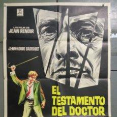Cine: CDO M169 EL TESTAMENTO DEL DOCTOR CORDELIER JEAN RENOIR POSTER ORIGINAL ESPAÑOL 70X100 ESTRENO. Lote 286336443