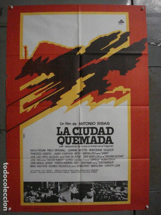 ABI76 LA CIUDAD QUEMADA CIUTAT CREMADA ANTONI RIBAS SERRAT ISERN POSTER ORIGINAL 70X100 ESTRENO (Cine - Posters y Carteles - Clasico Español)