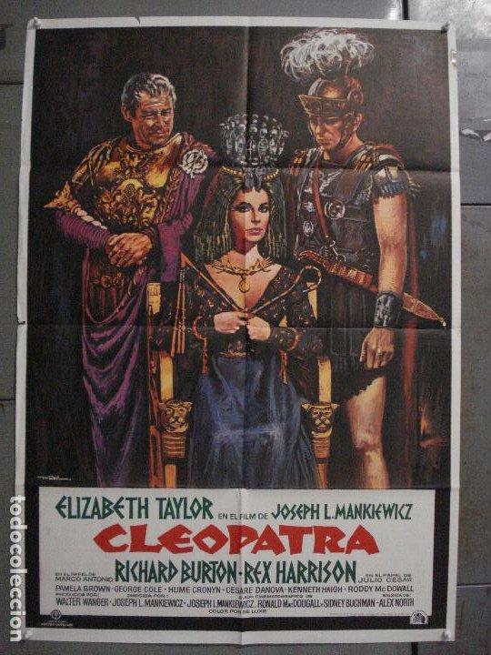 ABI82 CLEOPATRA ELIZABETH TAYLOR RICHARD BURTON REX HARRISON MAC POSTER ORIGINAL 70X100 ESPAÑOL R-75 (Cine - Posters y Carteles - Aventura)