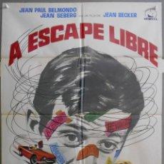Cine: XK83D A ESCAPE LIBRE JEAN-PAUL BELMONDO JEAN SEBERG POSTER ORIGINAL 70X100 ESTRENO. Lote 287175953