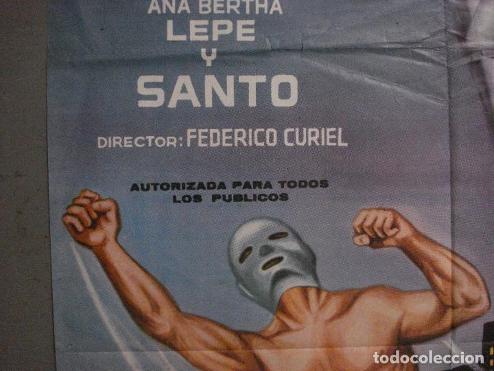 Cine: CDO M179 SANTO EL REY DEL CRIMEN enmascarado de plata YAÑEZ POSTER ORIGINAL 70X100 ESTRENO - Foto 3 - 287228548