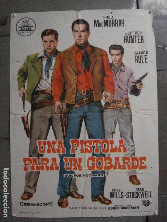 CDO M197 UNA PISTOLA PARA UN COBARDE FRED MACMURRAY JEFFREY HUNTER CIFESA POSTER ORIG 70X100 ESTRENO (Cine - Posters y Carteles - Westerns)