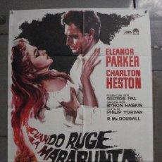 Cine: CDO M199 CUANDO RUGE LA MARABUNTA CHARLTON HESTON MATAIX POSTER ORIGINAL 70X100 ESPAÑOL R-66. Lote 287249113