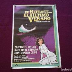 Cinema: 1970´S, CARTEL DE CINE, DE REPENTE EL ÚLTIMO VERANO, ELIZABETH TAYLOR, COLUMBIA, 96 X 66 CMS.. Lote 287413498