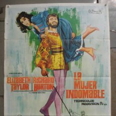 Cine: CDO M228 LA MUJER INDOMABLE ELIZABETH TAYLOR RICHARD BURTON JANO POSTER ORIGINAL 70X100 ESTRENO. Lote 287666668