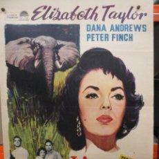 Cine: LA SENDA DE LOS ELEFANTES - ELIZABETH TAYLOR - CARTEL / POSTER ORIGINAL - 100 X 70. Lote 287685833