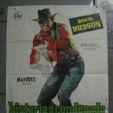 Cine: CDO M253 HISTORIA DE UN CONDENADO ROCK HUDSON JULIA ADAMS RAOUL WALSH POSTER ORIGINAL 70X100 ESTRENO. Lote 287702418