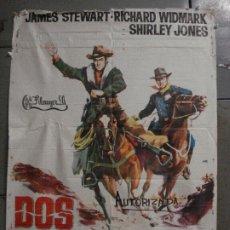 Cine: CDO M259 DOS CABALGAN JUNTOS JOHN FORD JAMES STEWART RICHARD WIDMARK POSTER ORIGINAL ESTRENO 70X100. Lote 287704273