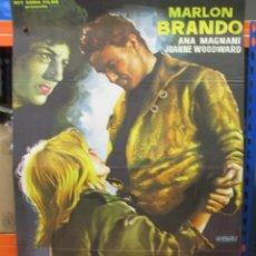Cine: CARTEL ORIGINAL DE EPOCA - PIEL DE SERPIENTE - MARLON BRANDON - JOANNE WOODWARD - 100 X 70. Lote 287748173
